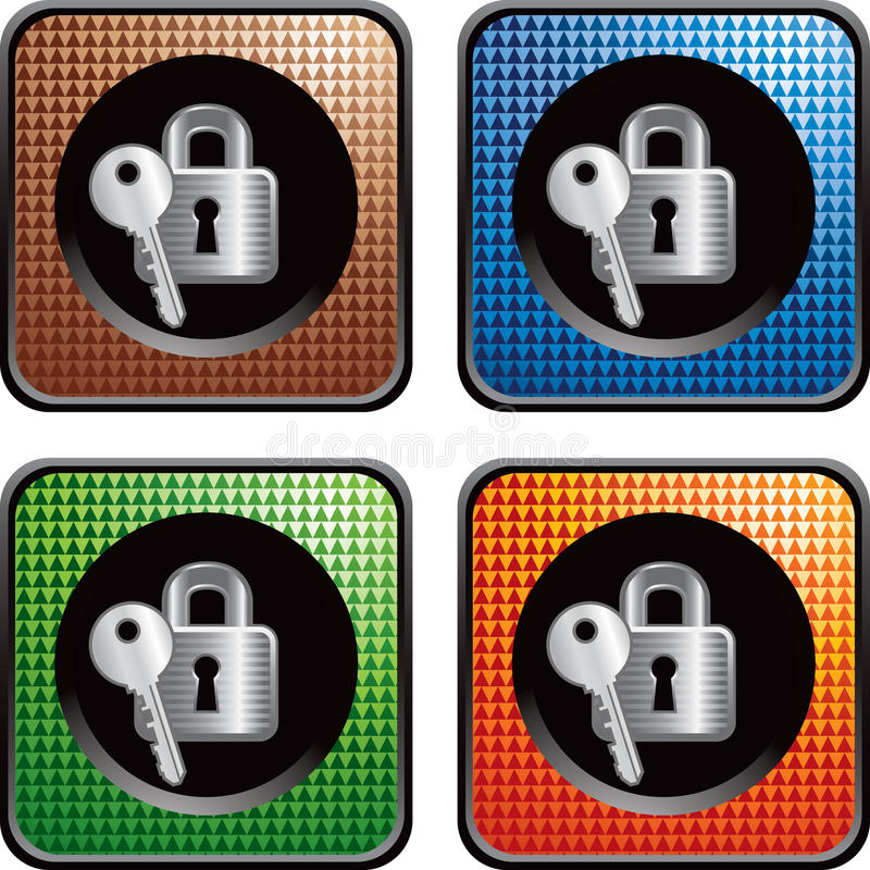 Multicolored web buttons with lock and key vector illustration