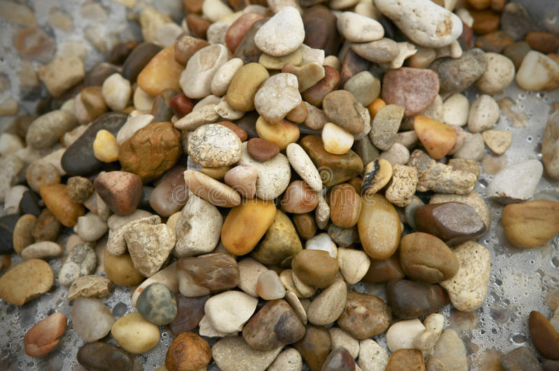 Multicolored wet stones after the rain stock photo