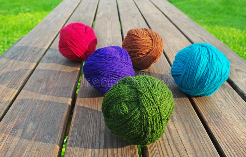 Multicolored Wool Balls. Stock Photo