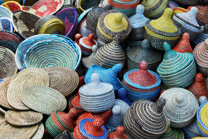 Multicolored Woven Baskets Stock Photo