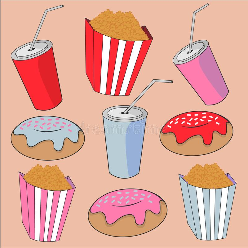 Multicolored zoete heldere achtergrond met voedsel en dranken stock foto