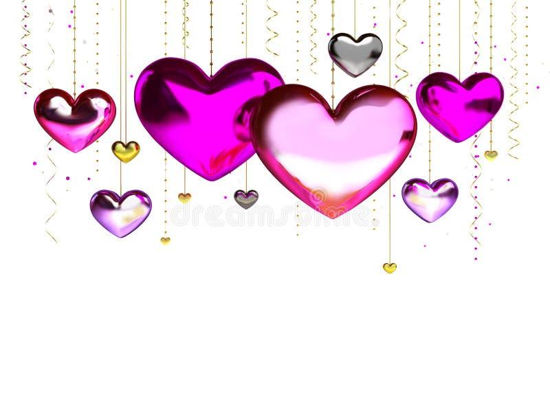 Multicolorido vermelho do rosa da decoração dos corações do amor Relacionamento feliz romântico da alegria Conceito do cartão do  ilustração stock