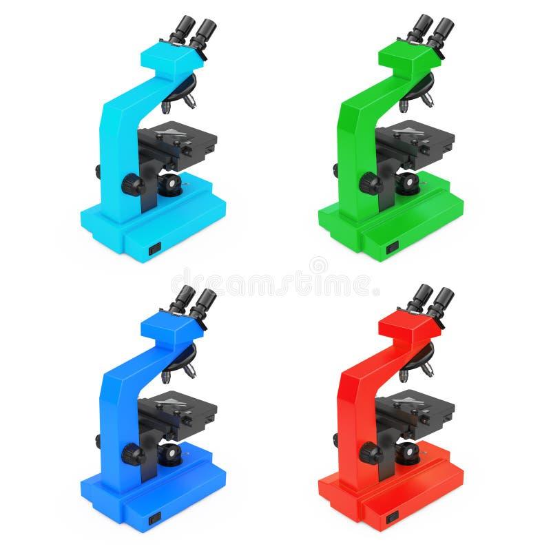 Multicolors现代实验室显微镜 3d翻译 库存例证