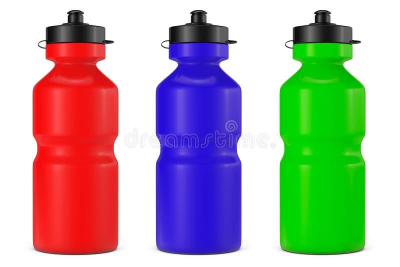 Multicolour бутылки с водой пластмассы спорта иллюстрация вектора