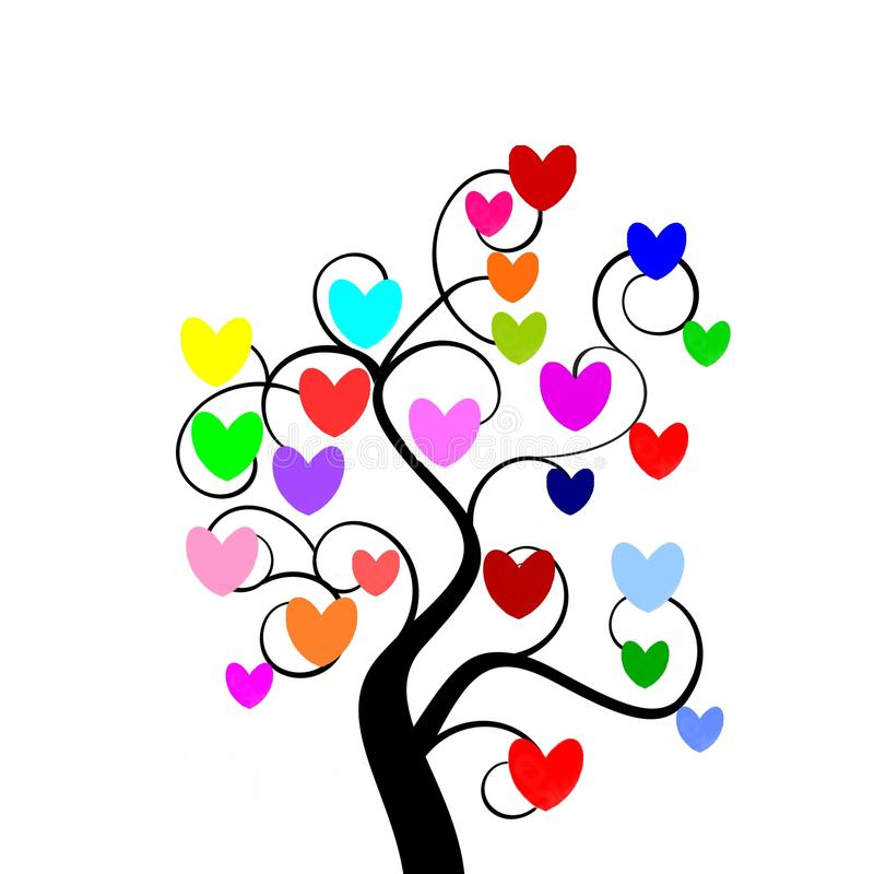 Download Multicolour hearts tree stock illustration. Illustration of drawing - 12569793