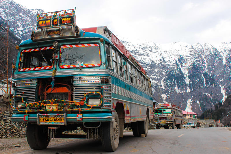 Multicolour mountain bus royalty free stock photo