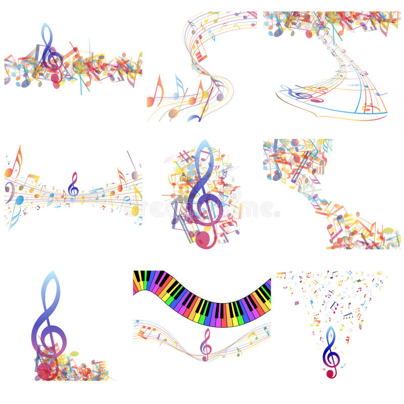 Download Multicolour  Musical Notes Staff Set Stock Vector - Image: 42939910