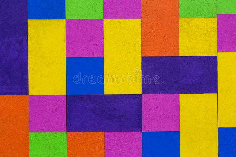 Multicoloured Background Bright Block Colours Painted on Wood. Multicoloured Background with Bright Block Colours Painted on Wood royalty free stock image