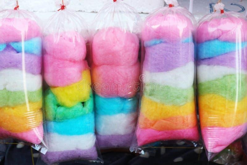 Multicoloured Bawełniany cukierek w plastikowych workach obraz royalty free