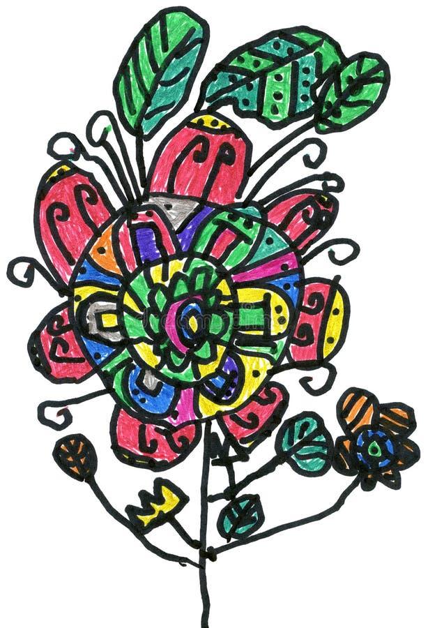 Multicoloured bloem, het geschilderde beeld van kinderen hand stock illustratie