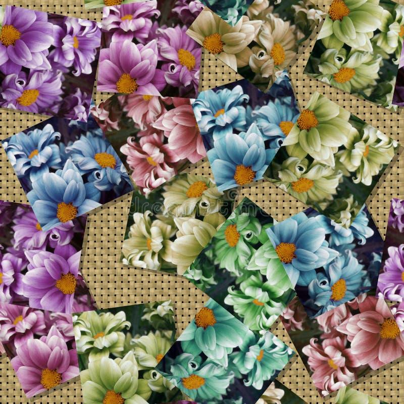 Multicoloured bloembeeld produceerde naadloze textuur royalty-vrije illustratie