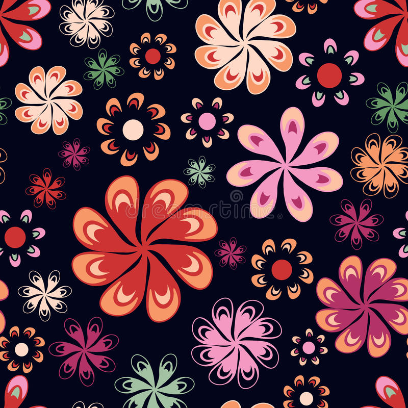 Download Multicoloured Flowers Seamless Pattern Stock Illustration - Illustration of pink, orange: 23399177