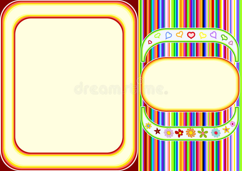 Download Multicoloured Frame With Lines And Flowers Stock Vector - Image: 22363435