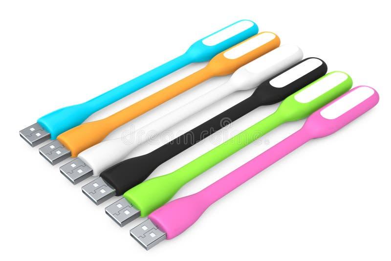 Multicoloured Geleide USB-Lampen het 3d teruggeven royalty-vrije illustratie