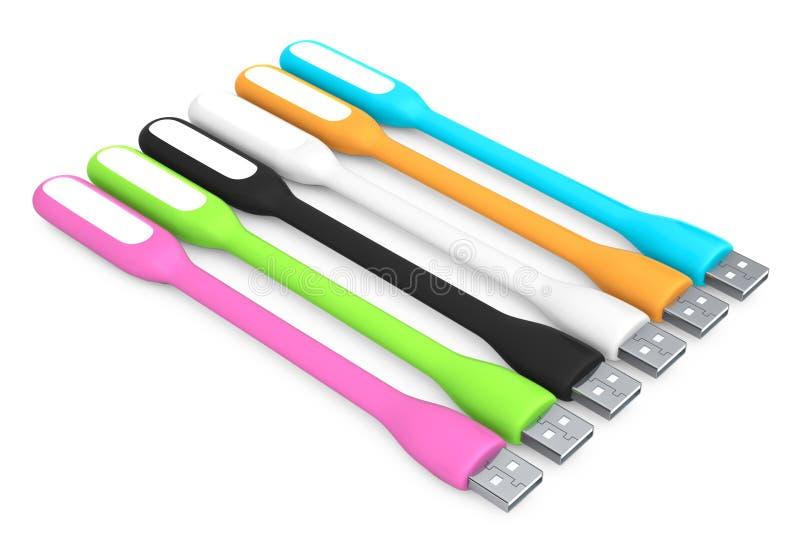 Multicoloured Geleide USB-Lampen het 3d teruggeven vector illustratie