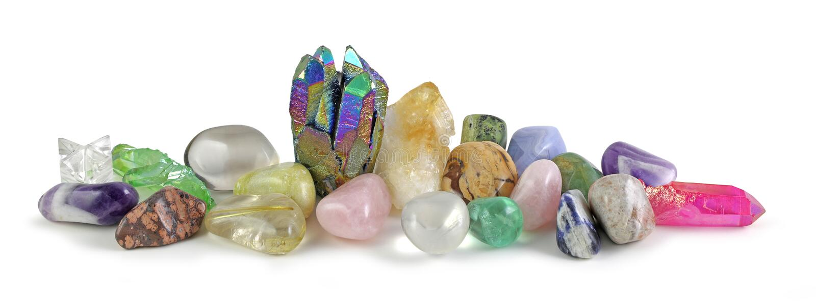 Multicoloured Healing Crystals Background Banner stock photo
