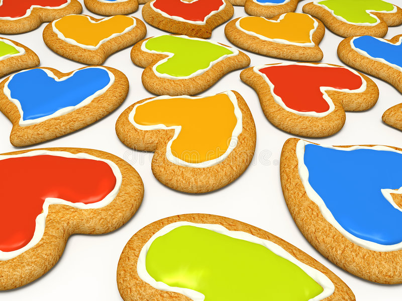 Download Multicoloured Heart Cookies Stock Illustration - Image: 7729240