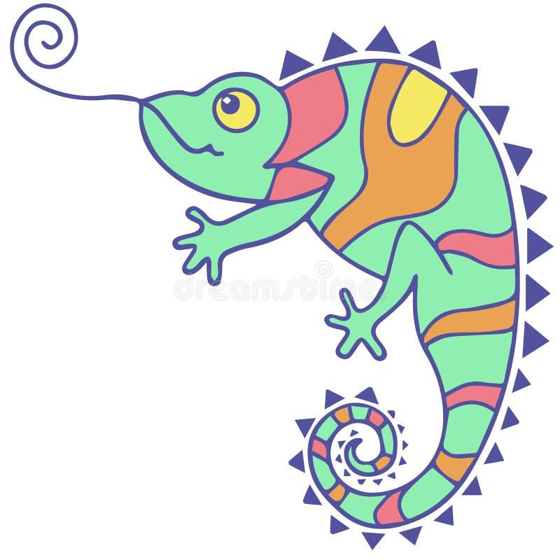 Multicoloured kameleonu rysunkowy ilustracyjny wektor royalty ilustracja