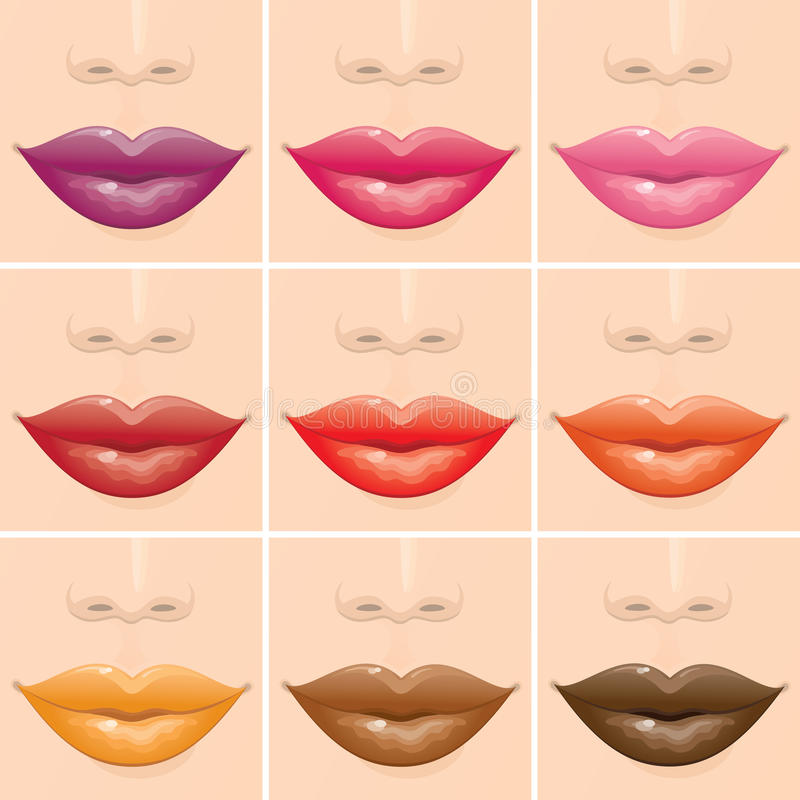 Multicoloured lippen vector illustratie