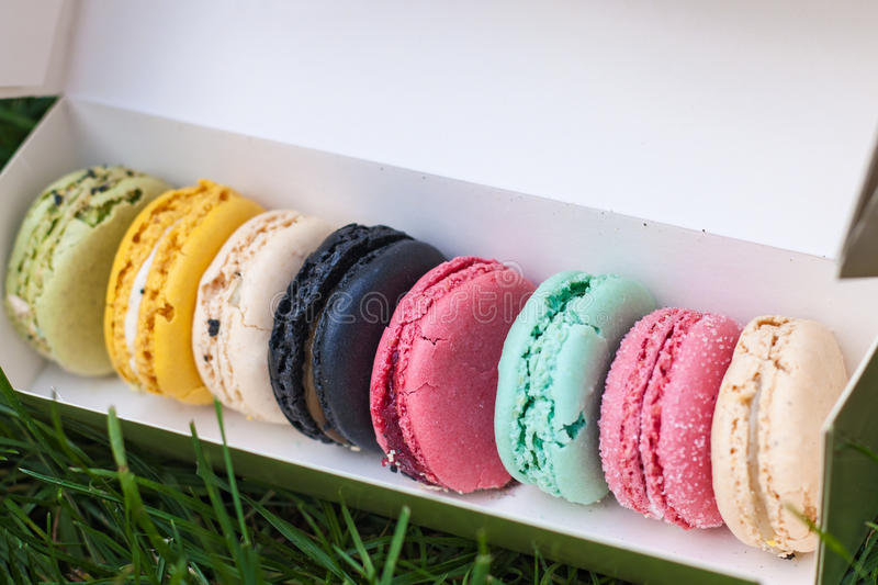 Multicoloured macaroons in a paper box. Appetizing multicoloured cakes macaroons in a paper box on the grass in the park for a snack on the dessert stock photos