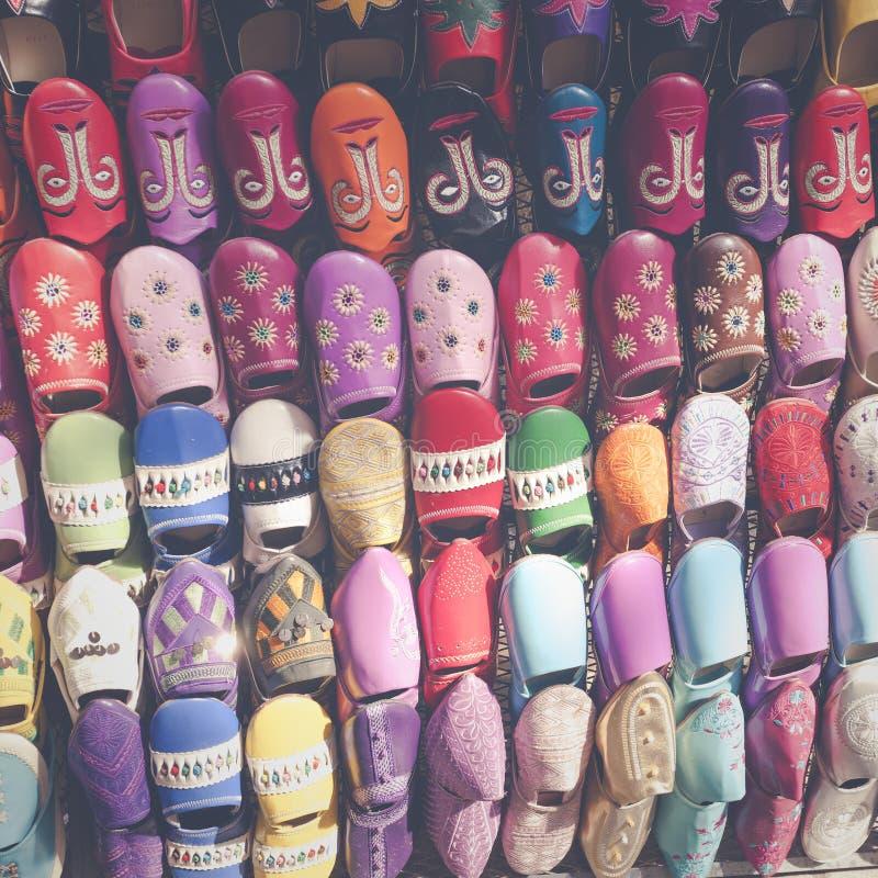Multicoloured Marokańscy kapcie, Marrakesh obraz royalty free