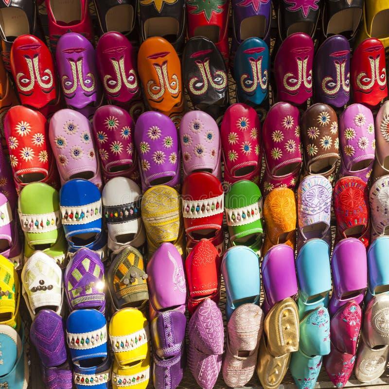 Multicoloured Marokańscy kapcie, Marrakesh zdjęcia royalty free