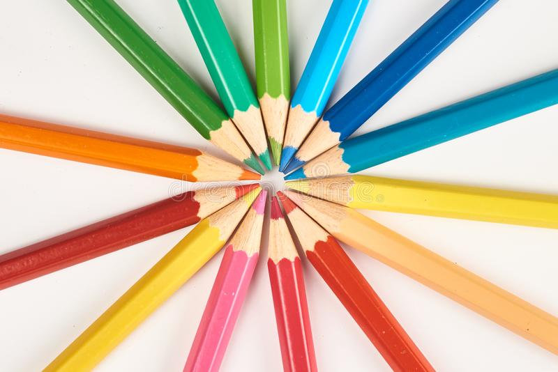 Multicoloured pencils. Background star design royalty free stock photography