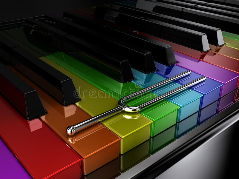 The multicoloured piano royalty free illustration