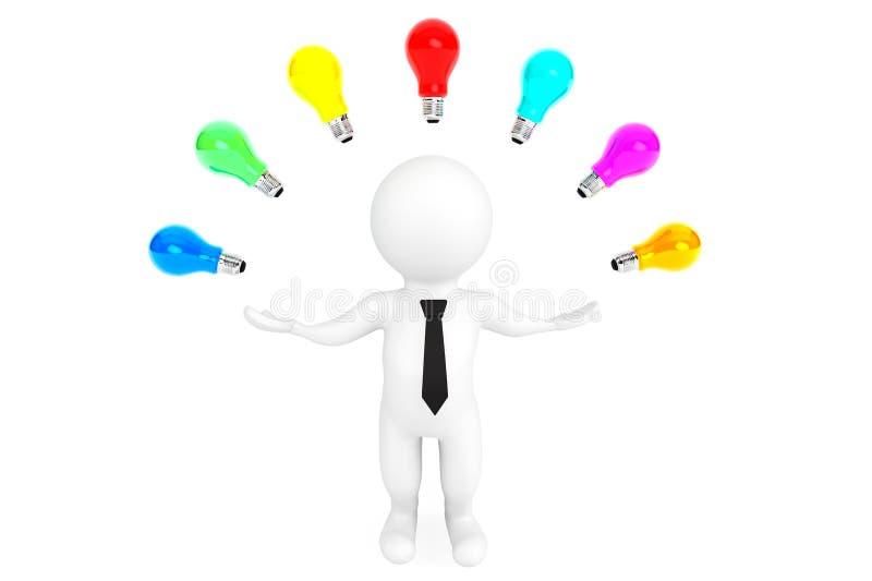 Multicoloured pomysł żarówki wokoło 3d osoby ilustracja wektor
