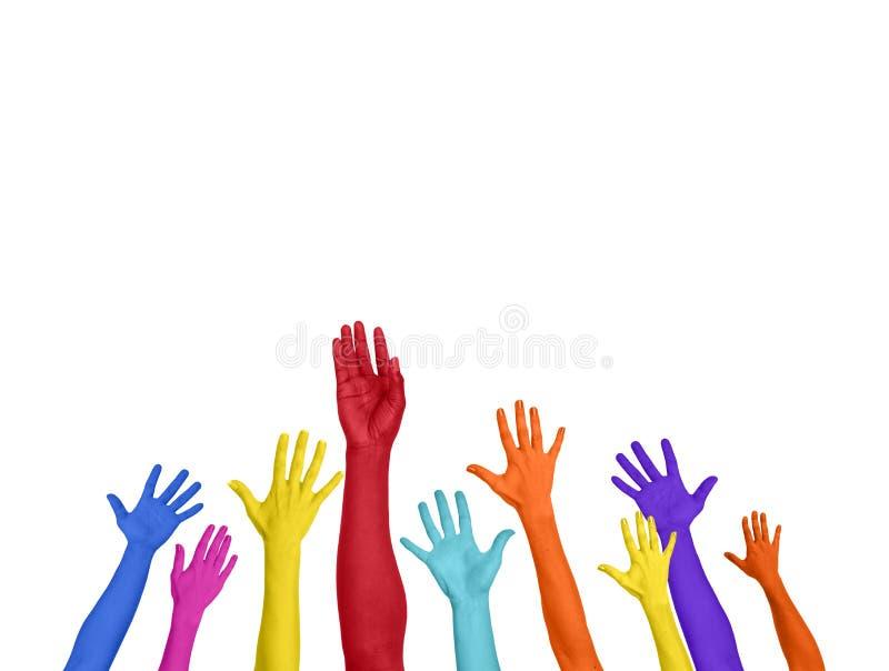 Multicoloured ręki Szeroko rozpościerać kopii Astronautyczny Wyraża Positivity fotografia stock