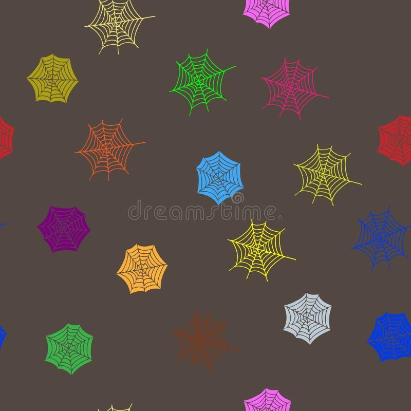 Multicoloured spider webs seamless pattern. Hand Drawn textures. Modern stock illustration