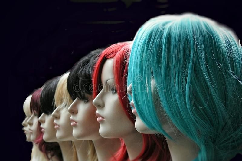Multicoloured wigs on display. Row of mannequins displaying multicoloured wigs royalty free stock image