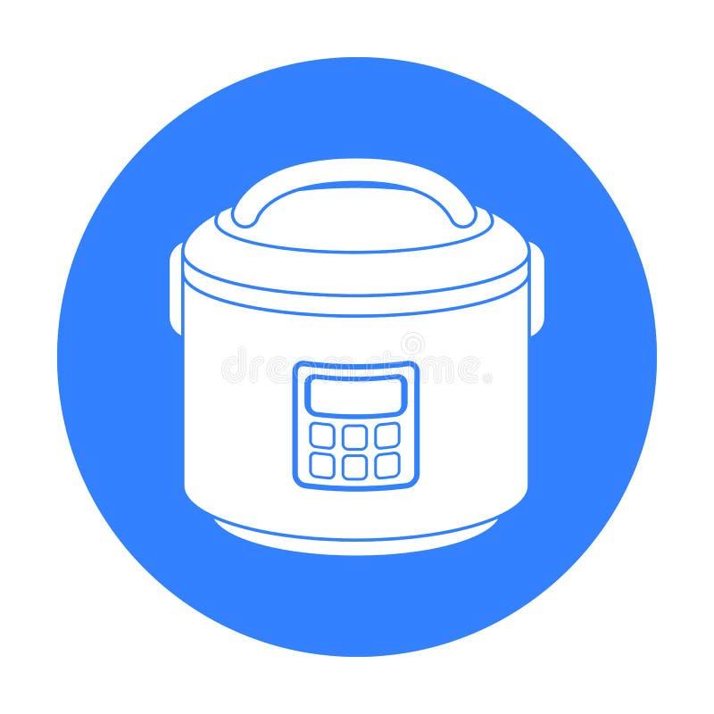 Multicooker ikona w czerń stylu odizolowywającym na białym tle Gospodarstwa domowego urządzenia symbolu zapasu wektoru ilustracja ilustracji