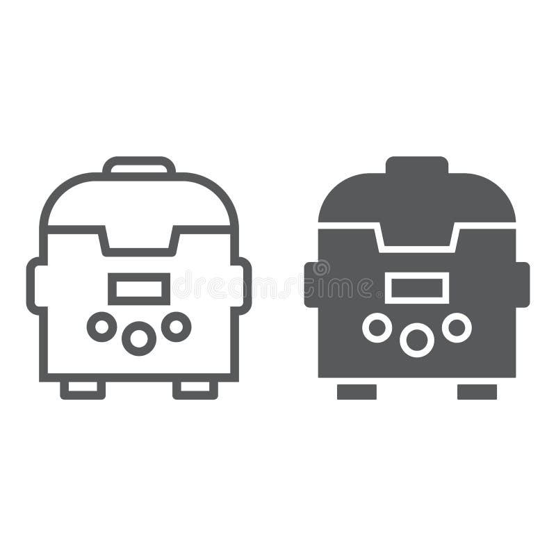 Multicooker-Linie und Glyphikone, Küche und Haushalt, Gerätezeichen, Vektorgrafik, ein lineares Muster lizenzfreie abbildung