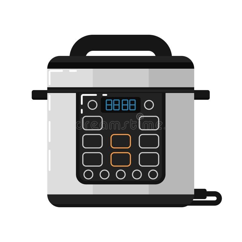 Multicooker maszyna odizolowywająca na białym tle ilustracji