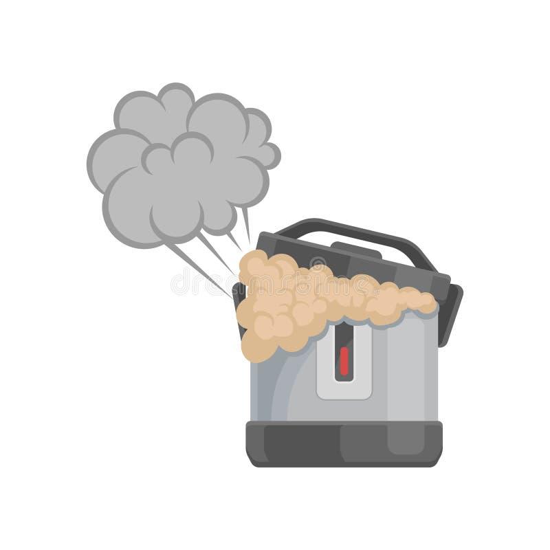 Multicooker quebrado, ejemplo dañado del vector del aparato electrodoméstico en un fondo blanco libre illustration