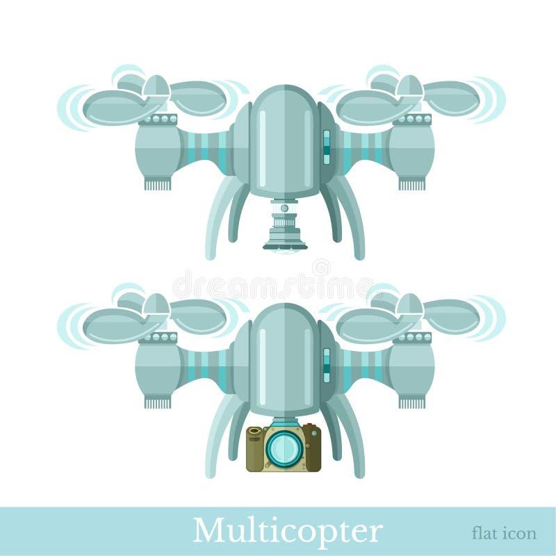 Multicopter twee of quadcopter met camera in vlakke geïsoleerde stijl stock illustratie