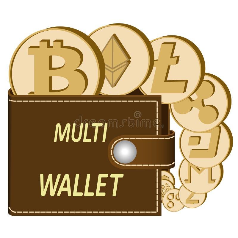 Multicrypto muntportefeuille met muntstukken royalty-vrije stock afbeeldingen