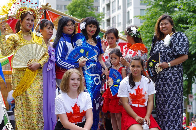 Multicultural Canada Day celebrations. Canada Day is celebrated annually on July 1 across Canada to celebrate the anniversary of the July 1, 1867, enactment of royalty free stock images