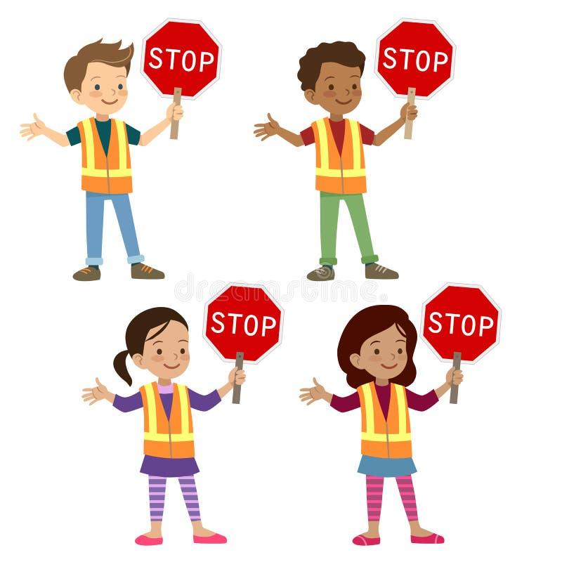 Multicultural children in crossing guard uniform stock illustration