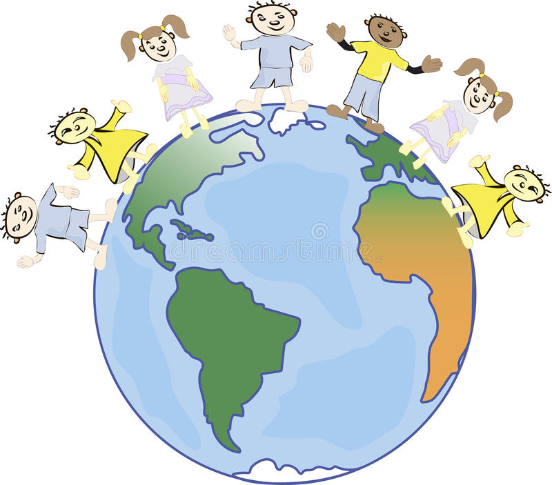 Multicultural children on planet earth, cultural diversity, traditional folk costumes. Earth is my friend. Group of children around the world royalty free illustration