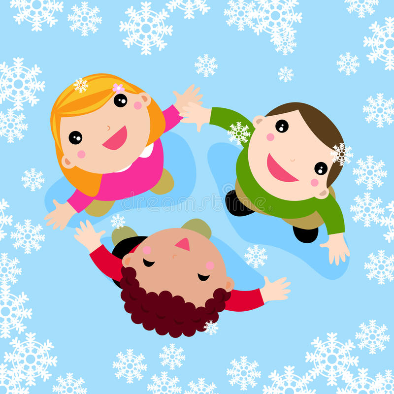 Multicultural children playing in the falling snow stock illustration