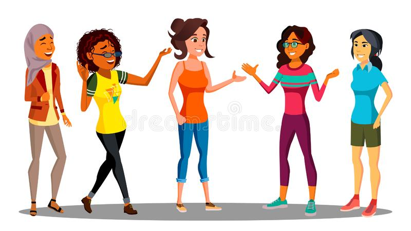 Multicultural Group Of Happy Women Together Vector. Illustration royalty free illustration