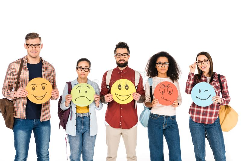 multicultural group of young people showing emotions on cards isolated royalty free stock photos