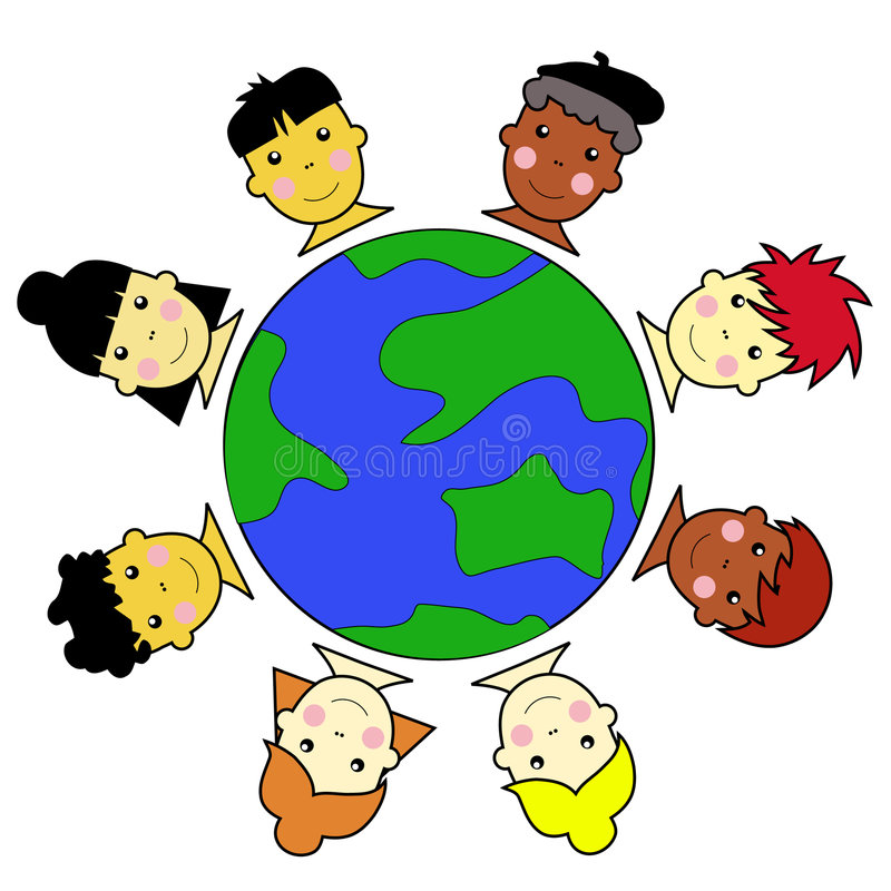 Multicultural Kid Faces United Around Earth Globe Stock Image