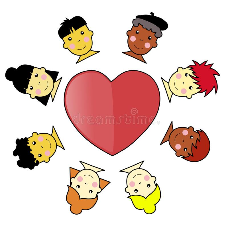 Multicultural Kid Faces United Around Heart Illust stock photo