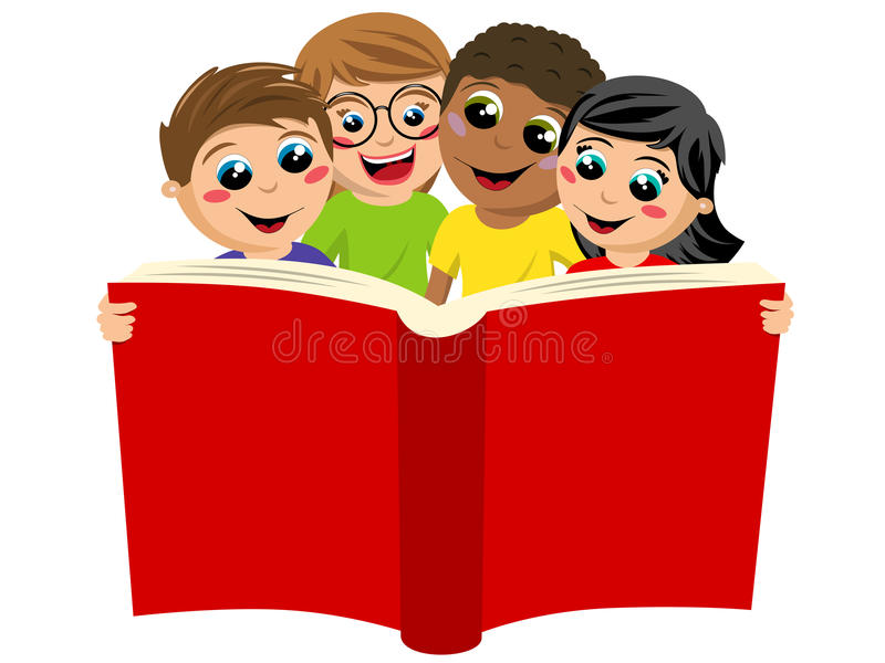 Multicultural kids children reading big book isolated vector illustration