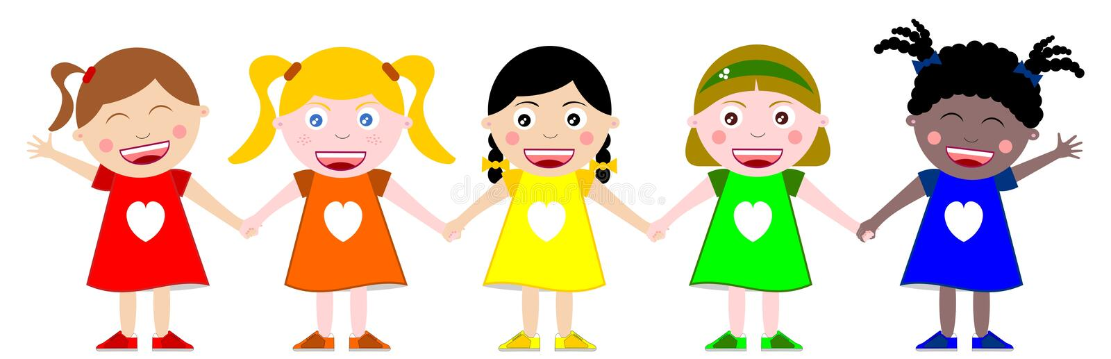 Download Multicultural Kids Hand In Hand Stock Vector - Image: 20379834