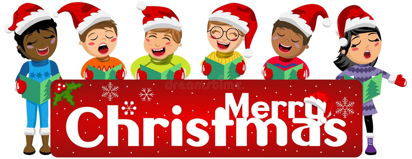 Multicultural kids wearing xmas hat singing Christmas carol banner isolated royalty free illustration