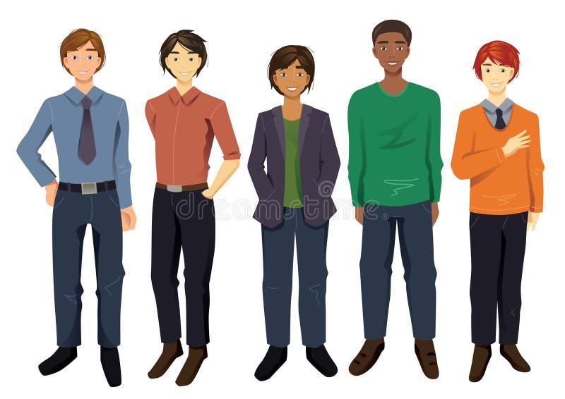 Multicultural Men. Vector set of five multicultural men stock illustration